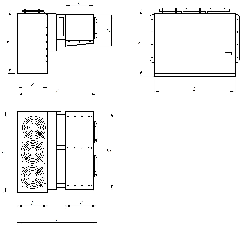 Монтажные размеры холодильной сплит-системы Север MGS 4**